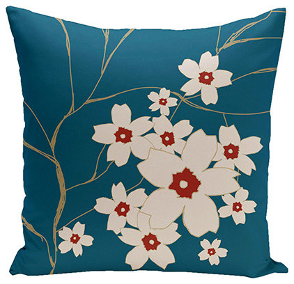 Teal Decorative Bed Pillows : Floral Teal 18-Inch Cotton Decorative Pillow - Eclectic - Bed Pillows - by Bellacor