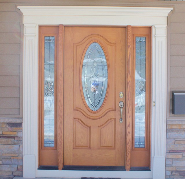 Wood Grain Front Door With Oval Window Amp Decorative White