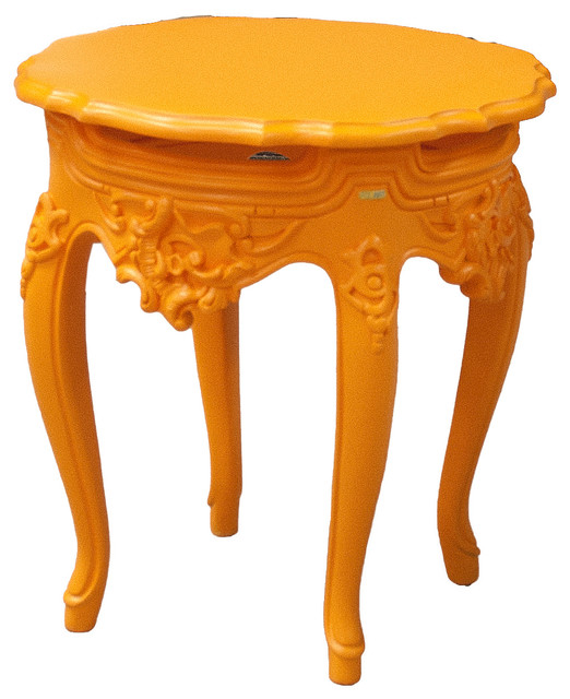 French outdoor side table hi lite orange modern outdoor for Orange outdoor side table
