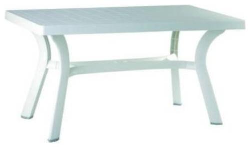 Compamia White Sunrise Resin 55 Rectangle Outdoor Patio Table  Contemp -> White Sand Outdoor Resin Table