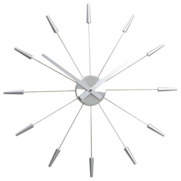 Nextime plug inn wall clock silver modern wall clocks for Silver wall clocks modern