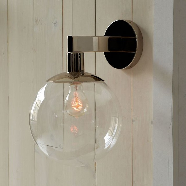 Globe outdoor sconce modern outdoor wall lights and for Modern exterior lighting fixtures
