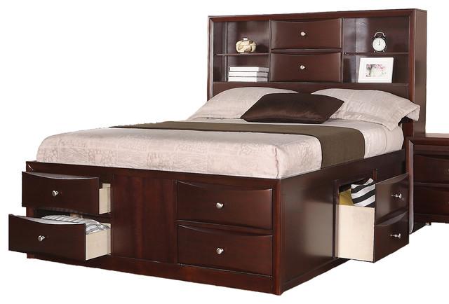 Espresso captains storage bed set queen size bed - Queen size bedroom set with storage ...