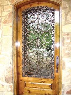 Faux Iron Door Cover Eclectic Front Doors Dallas