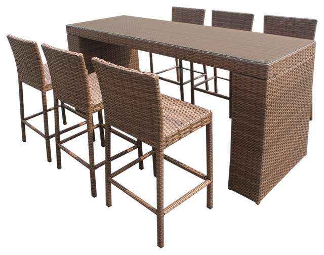 Tuscan Bar Table Set With Barstools 7 Piece Outdoor Wicker Patio Furniture Tropical Outdoor