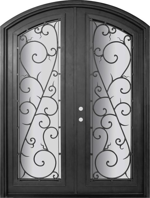 Bellagio 72x96 arch top wrought iron double door 14 gauge for 14 gauge steel door