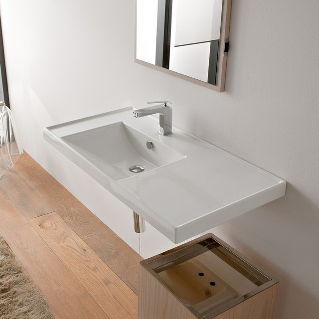 Counter Mounted Sink : ... or Wall Mounted Sink with Counter Space contemporary-bathroom-sinks