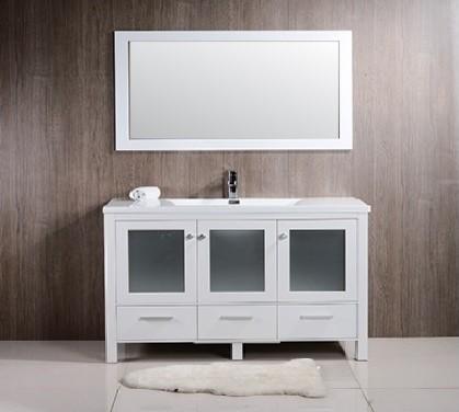Brezza 60 Single Sink Modern Bathroom Vanity W Frosted Glass Doors