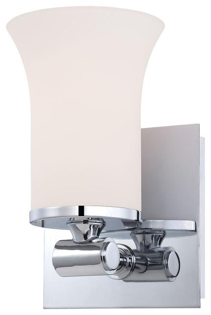 Contemporary Chrome Vanity Lights : Flare 1 Light Vanity, Chrome And White Opal Glass - Contemporary - Bathroom Vanity Lighting - by ...