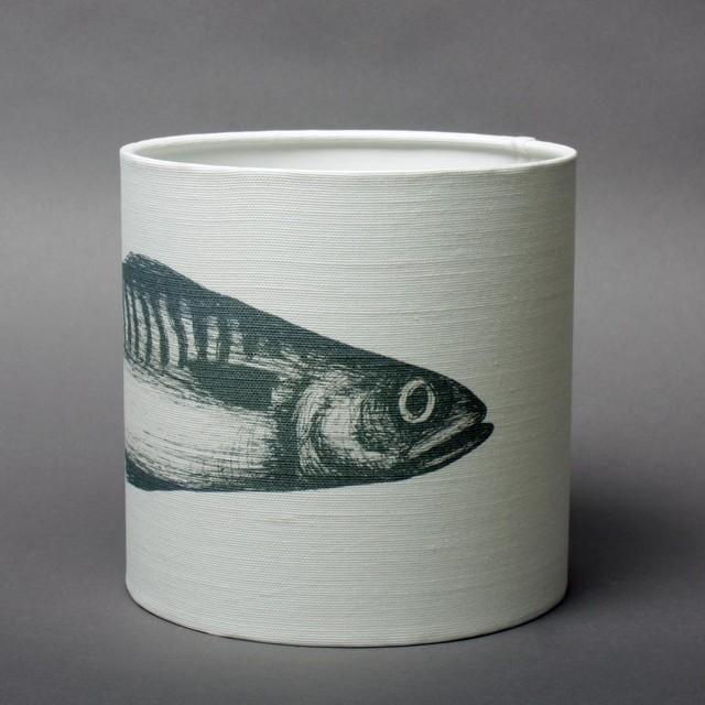 mackerel lampshade grey on ecru cotton beach style. Black Bedroom Furniture Sets. Home Design Ideas