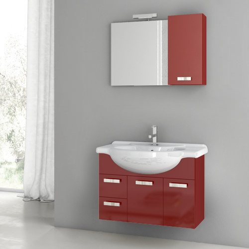 32 Inch Glossy Red Bathroom Vanity Set Contemporary Bathroom Vanities And