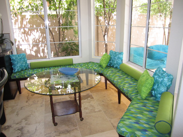 Cushions for custom bench seat eclectic kitchen for Room design mahim