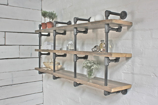 Reclaimed Scaffolding Board And Dark Steel Gas Pipe