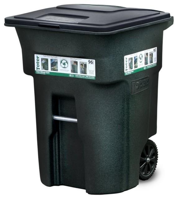 96 Gallon Wheeled Trash Can Greenstone Contemporary