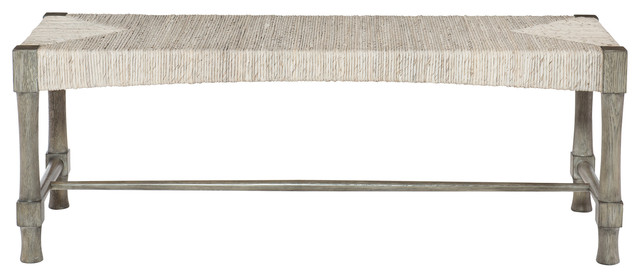 Clarcia Coastal Woven Abaca Light Gray Wood Bench Beach