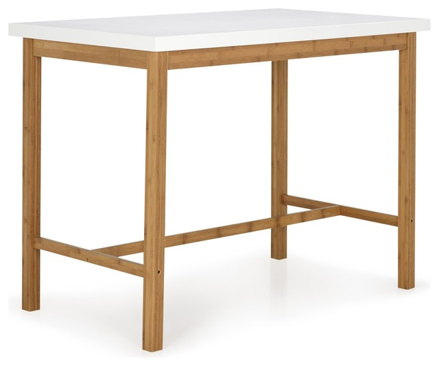 Buluh table haute blanche et naturelle h90cm scandinave table manger - Table haute 8 personnes ...