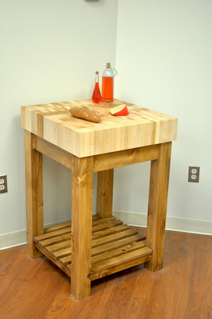 End Grain Butcher Block Kitchen Island : Maple End Grain Butcher Block Kitchen Island Cart with Country Pine Base - detroit - by McClure ...