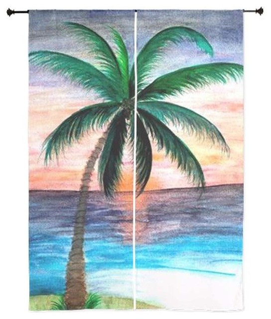 Palm Tree Tropical Sheer Curtains, Sunset Palm - Curtains - by Art ...