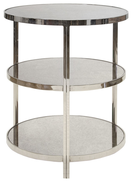Worlds Away Audrey Nickel Side Table - Modern - Dining Tables - By Layla Grayce
