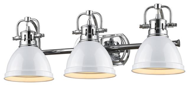 Duncan Ch 3 Light Bath Vanity Chrome Finish With White Industrial Bathroom Vanity Lighting