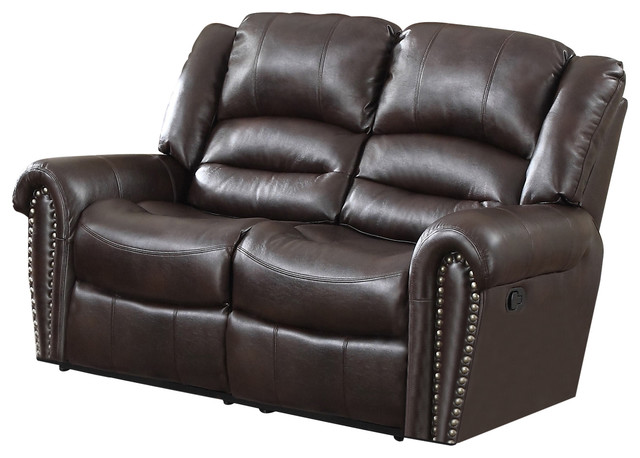 Abbie Leather Air Reclining Loveseat Burgundy Loveseats By Myco Furniture