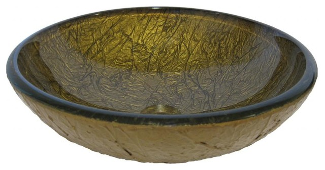 Aureo Deep Crackled Bronze Hand Painted Glass Vessel Sink