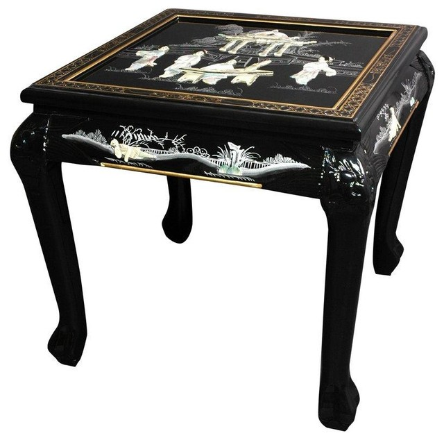 Claw Foot End Table - Black Mother of Pearl Ladies traditional-side ...