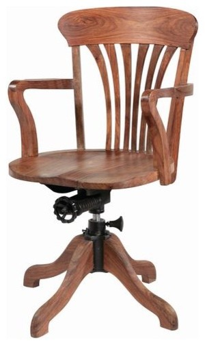 wooden swivel office chair traditional desks and hutches by