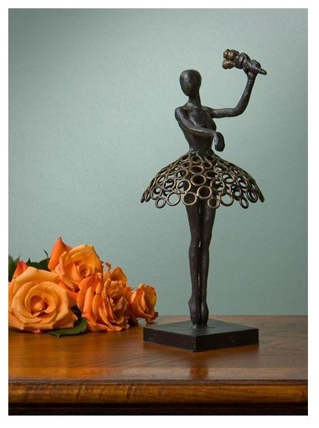 Ballerina sculpture in bronze contemporary decorative for Modern home decor objects