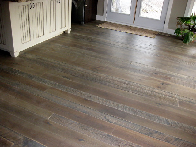 Textured top plank flooring with jacobean grey stain for Traditional flooring