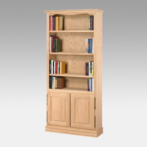A & E American Oak Heavy Duty Unfinished Bookcase with Doors - Traditional - Bookcases - by ...