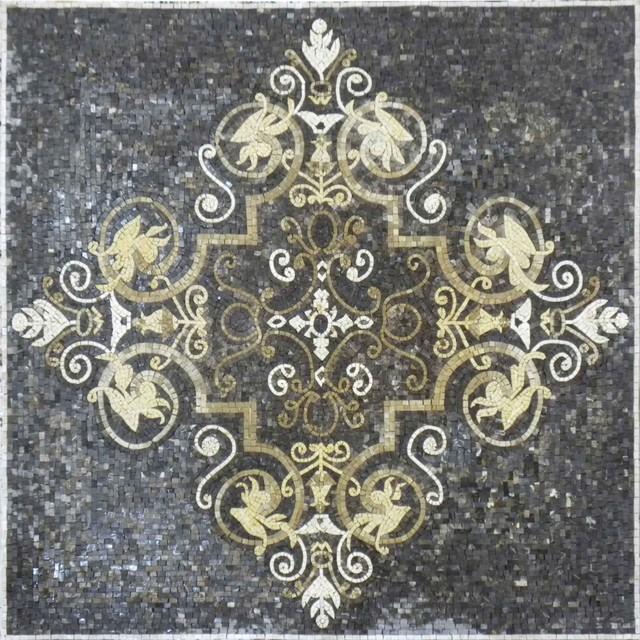 arabesque floral mosaic lutfi ii m diterran en carrelage sol et mur par mozaicoart. Black Bedroom Furniture Sets. Home Design Ideas