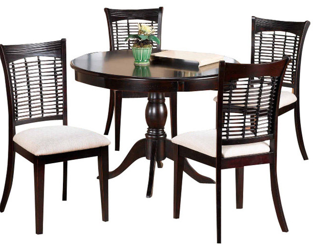 Hillsdale bayberry 5 piece round dining room set for Traditional round dining room sets