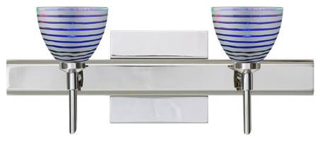Divi Chrome Two-Light Square Canopy Bath Fixture with Silver Dicro Wavy Glass - Contemporary ...