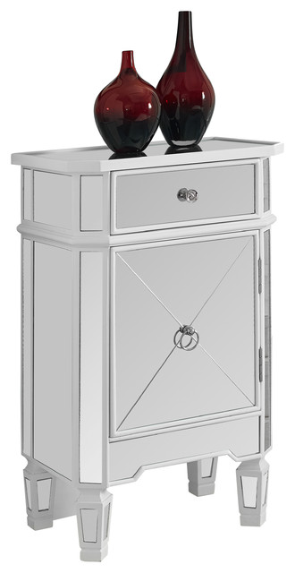 Satin White, Mirrored 1 Drawer Accent Cabinet contemporary-nightstands-and-bedside-tables