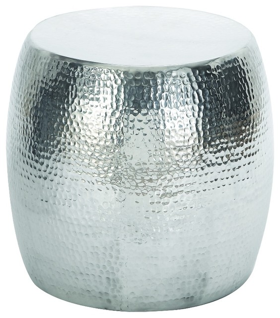 hammered round stool silver simple durable design home
