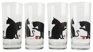 Cat and Yarn Drinking Glasses, Set of 4 - Farmhouse - Everyday Glasses - by Mary Elizabeth Hining
