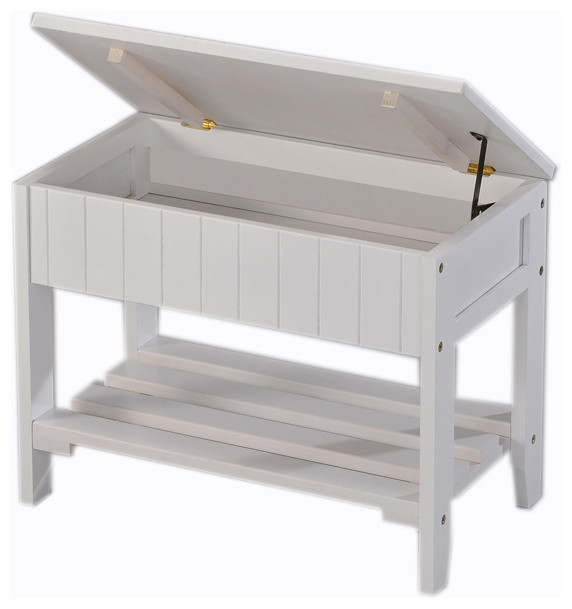 Rennes White Finish Quality Solid Wood Shoe Bench With Storage Contemporary Accent Storage