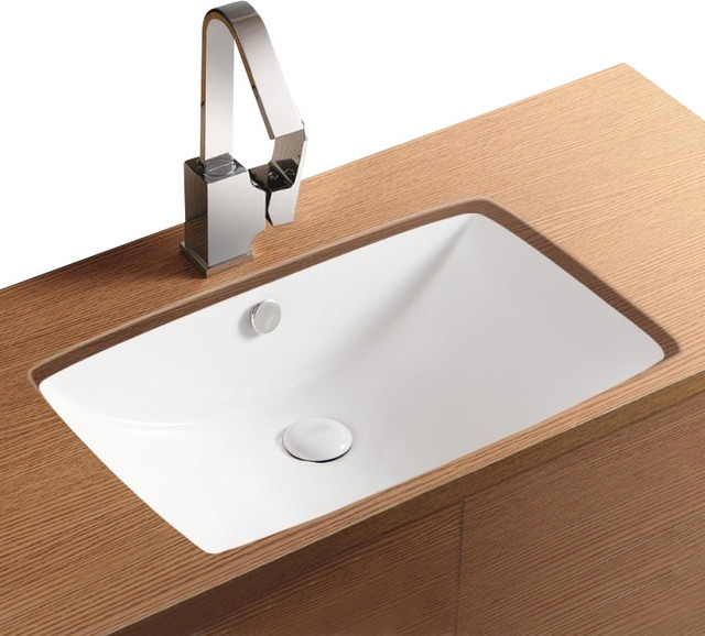 Rectangular White Ceramic Undermount Bathroom Sink No Hole Contemporary