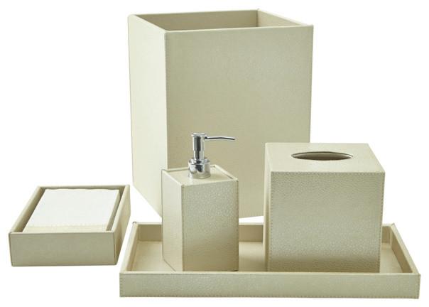 Shagreen Bath Accessory Set Ivory Contemporary