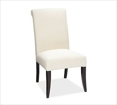 Pb comfort upholstered dining side chair linen oatmeal for Upholstered linen dining chairs