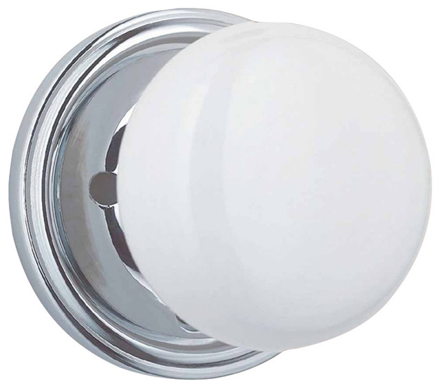 """Door Knobs Privacy Set White Porcelain/Chrome 2 3/8"""" - Traditional - Cabinet And Drawer Knobs ..."""