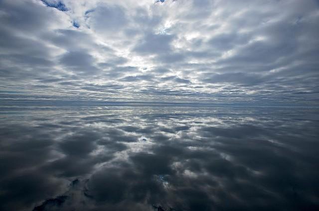 Reflecting clouds wallpaper wall mural self adhesive for Cloud mural wallpaper