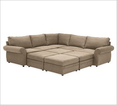 Pearce upholstered 6 piece pit sectional twill walnut for 6 piece sectional sofa uk
