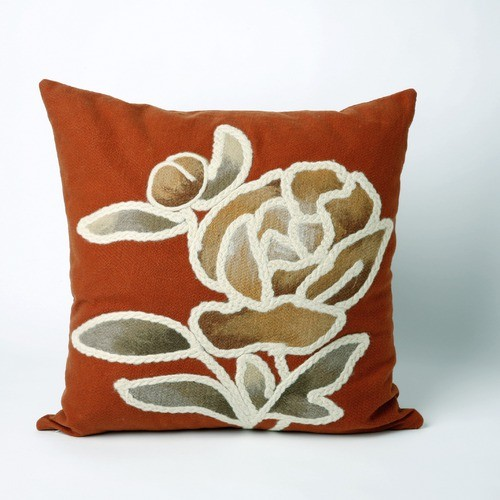 Gabbana Square Indoor/Outdoor Pillow in Orange - Modern - Outdoor Cushions And Pillows