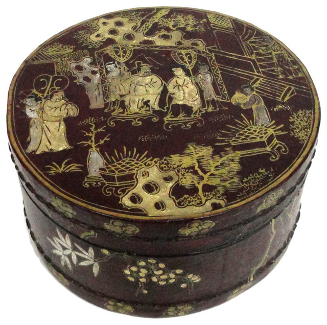 Round Decorative Boxes: Chinese Reddish Brown Lacquer Scenery Round Box