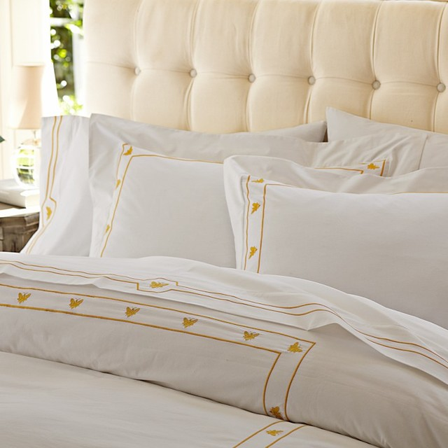 Bee Embroidered Duvet Cover Traditional Duvet Covers