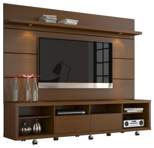Manhattan Comfort Cabrini Tv Stand And Panel   Nut Brown  C B More