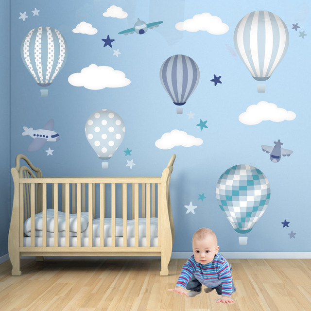 Hot air balloons jets nursery wall art modern for Baby room decoration uk