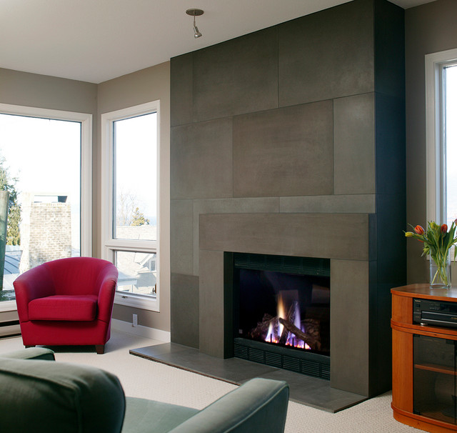 Modern span surround and concrete tile by solus modern - Modern fire surround ideas ...